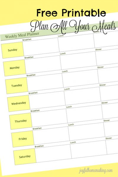 free printable meal planner and grocery list, Free Printable Menu Planner and Grocery List, Joyful Homemaking