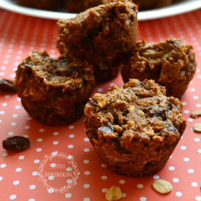 Vegan Raisin Date Pecan Mini Muffins