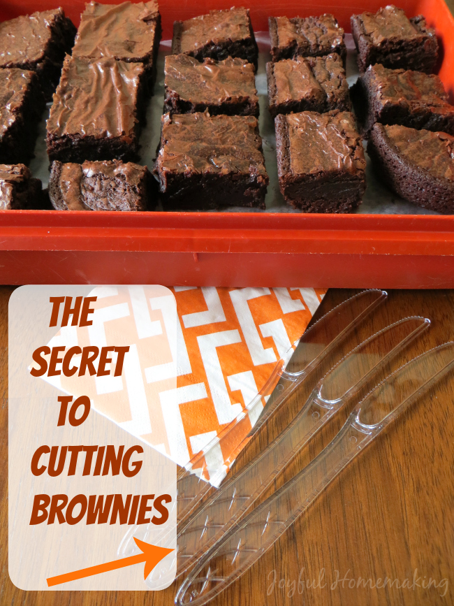secret to cutting brownies