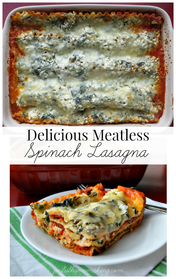 meatless spinach lasagna, Delicious Meatless Spinach Lasagna, Joyful Homemaking