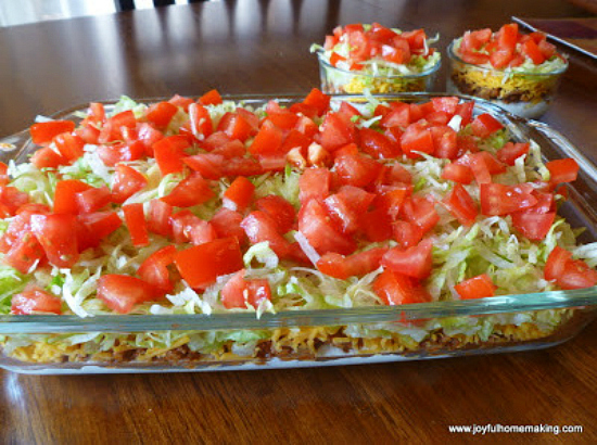 taco dip is one of many great dinner ideas