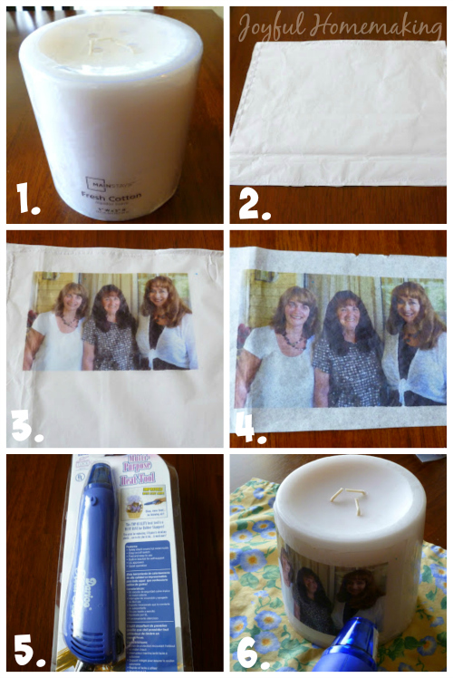 transfer a photo to a candle