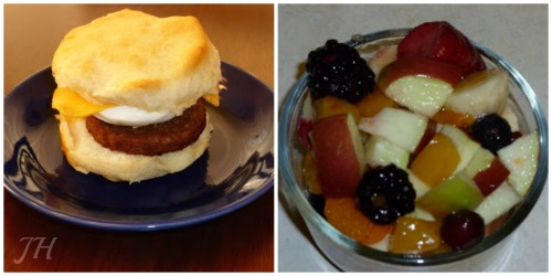 veggie biscuit and fruit
